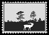 Vector clipart: silhouette deer on postage stamp,