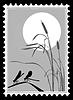 Silhouette Libelle auf Briefmarke,