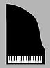 钢琴剪影 | 向量插图