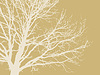Vector clipart: tree silhouette on brown background,