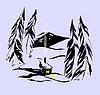 Bungalow in siberian taiga | Stock Illustration