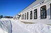 깊은 눈에서 돌 타운 하우스 | Stock Foto