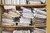 Business papers in old closet | Stock Foto
