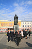 Photo 300 DPI: Delegation of the guests near monument YAroslav Wise