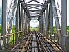 Railway bridge through small river | Stock Foto