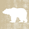 Vector clipart: bear silhouette on brown background,
