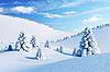 冬季景观与枞树 | 光栅插图