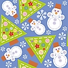 Seamless background of snowflakes and snowmen