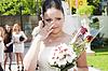 Emotionale Braut mit Blumenstrauß Braut | Stock Foto