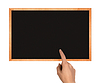 Photo 300 DPI: clean chalkboard with hand and copy space