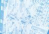 Dark blue circuit board scheme with conductors and solder | Stock Foto