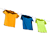 Photo 300 DPI: Photograph of four blank t-shirts