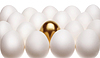 Photo 300 DPI: gold egg among white eggs