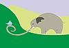 Векторный клипарт: слон и птица