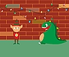 Vector clipart: dragon and elf