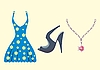 Vector clipart: Dress, shoe and necklace
