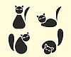 Vector clipart: Funny cats silhouettes