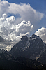 Mount Ushba in clouds, Caucasus | Stock Foto