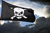 Photo 300 DPI: Jolly Roger (pirate flag) against storm clouds
