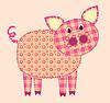 Vektor Cliparts: Applikation Schwein