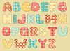 Vector clipart: Vintage quilt alphabet
