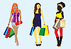 Vector clipart: girl with shopping bags