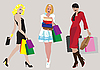 Vector clipart: girls with shopping bags
