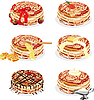 Vector clipart: pancakes with different fillings