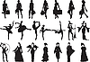 Vector clipart: silhouettes of women