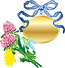Vector clipart: banner as pendant and bouquet of flowers