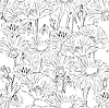 Vector clipart: floral seamless black and white background