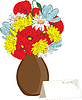 Vector clipart: vase of spring flowers and card