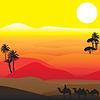 Silhouetten der afrikanischen Wüste