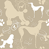 Vector clipart: Seamless beige background with dogs, and accessories