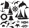 Vector clipart: set of silhouettes symbolizing the marine leisure