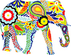 Vector clipart: elephant with Indian patterns