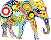 Векторный клипарт: Силуэт слона с индийскими орнаментами