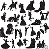 Silhouettes of wedding couples in different situations | Stock Vector Graphics