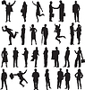 Vector clipart: set of silhouettes of business people