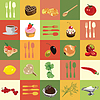 Background of colored squares with food ingredients | Stock Vector Graphics