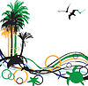 Vector clipart: abstract background with palm trees