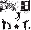 Vector clipart: love - silhouettes of men under the window