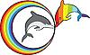 Vector clipart: Dolphins and rainbow