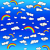 Vector clipart: background with clouds and rainbow