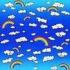 Векторный клипарт: фон с облаками и радугой