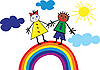 Children riding on rainbow