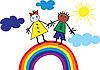 Vector clipart: Children riding on rainbow