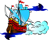 Vector clipart: old military sailboat