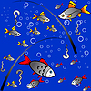 Vector clipart: Seamless colorful background of fishing