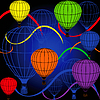 Vector clipart: seamless background with rainbow balloons